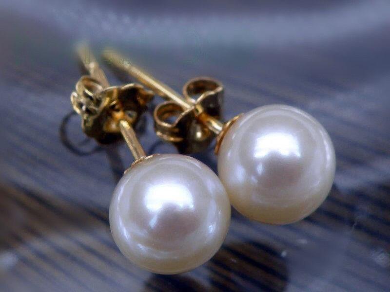 Livraison gratuite nouveau rond AAA + 8-7mm mers du sud blanc perle boucles d'oreilles avec 14 k