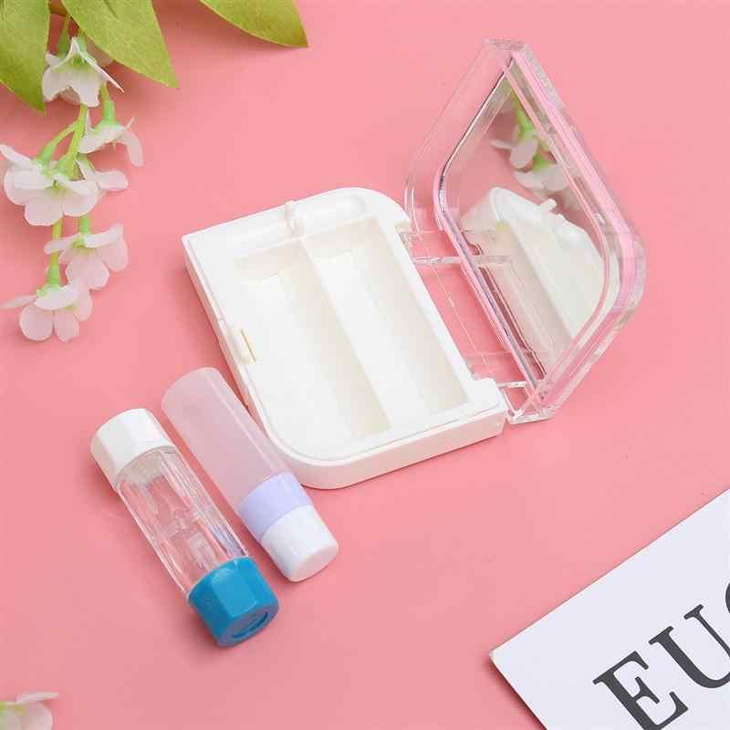1 Set di Lenti A Contatto Caso Holder Box Container con Interno Mini Specchio per la Corsa Esterna di Colore Rosa