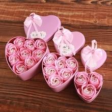 Роза Подарочная коробка мыло цветок подарок искусственный в форме сердца коробка творческий день Святого Валентина Подарки для девочек украшение дома свадьба
