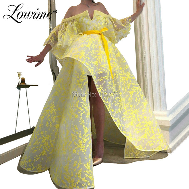 Custom Boat Neck Yellow Prom Dresses Hot Sexy Long Party Gowns 2019 Robe De Soiree Dubai Arabic Evening Dress Vestido De Festa