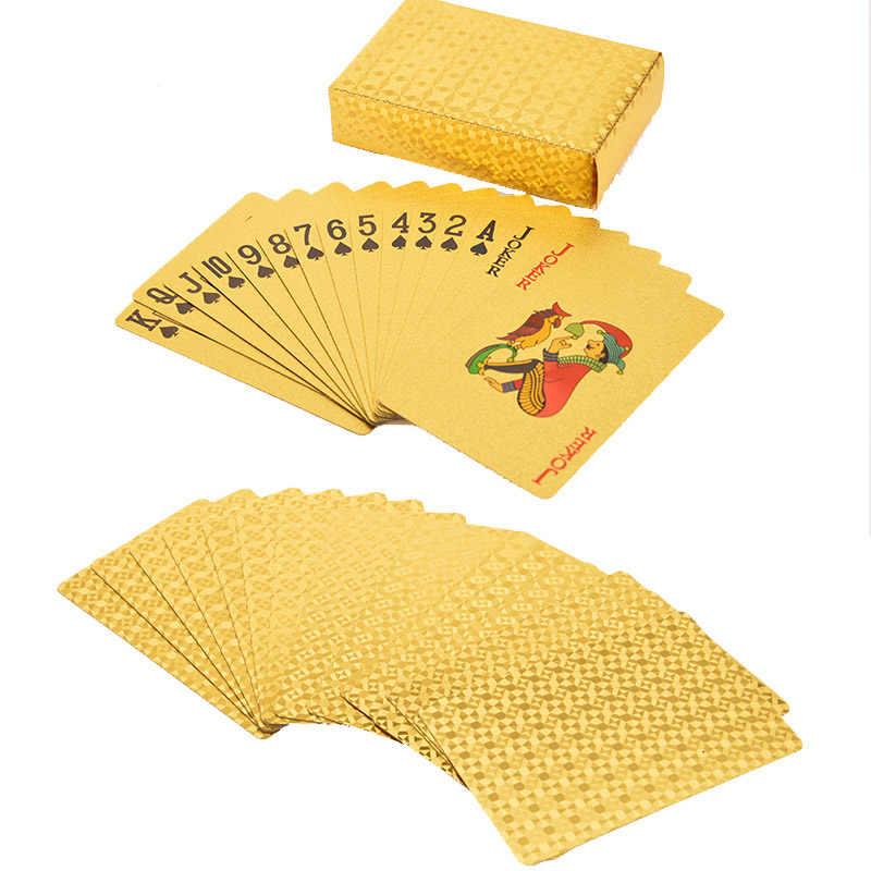 עץ מתנות תיבת חבילת נייר זהב פוקר קלפי תיבה עמיד למים פוקר כרטיסי תיבת 24K מצופה פוקר זהב משחק כרטיסי עם תיבה