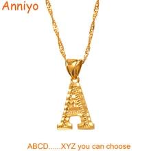 Anniyo, ожерелья с маленькими буквами для женщин/девочек, золотой цвет, начальная подвеска, тонкая цепочка, английские буквы, ювелирные изделия, альфабе, подарок#058002