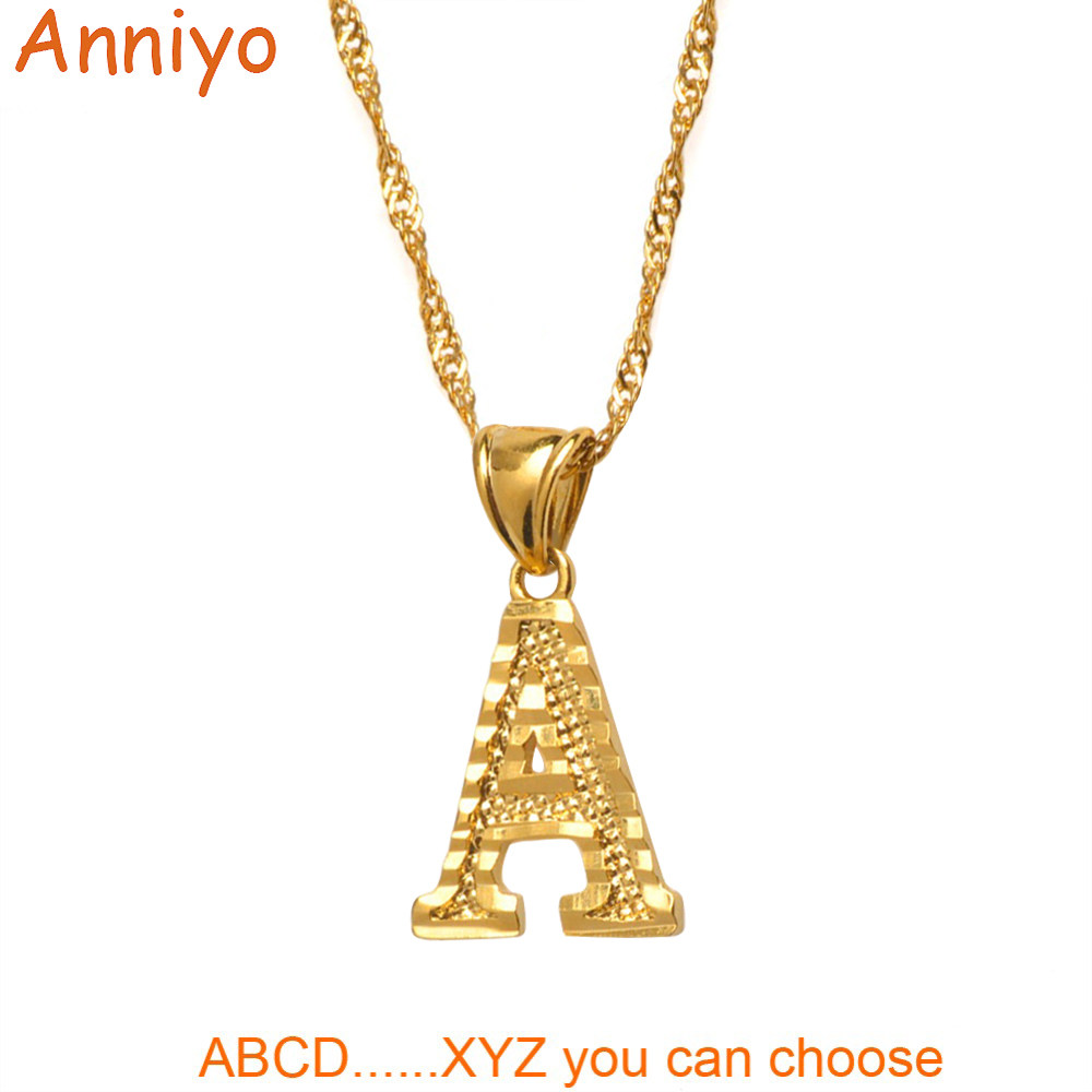 Anniyo A-Z Small Letters Necklaces Women/Girl Gold Color Initial Pendant Thin Chain English Letter Jewelry Alphabet Gift #058002
