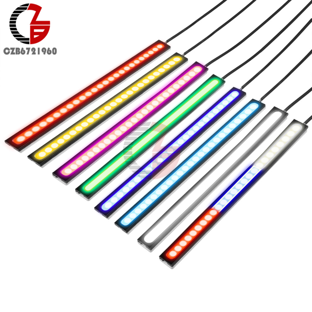 1Pcs/2Pcs 17CM 12V Ultra Bright COB LED Daytime Running Light Red Blue Warm Cold Cool Waterproof Lights DRL For Car Auto Vehicle