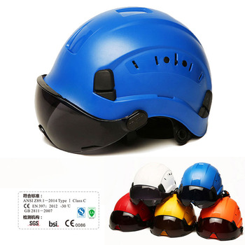 Safety Helmet With Dark Goggles Outdoor Climbing Riding Protective Helmets Working rescue Hard Hat High Quality ABS Work Cap safety helmet hard hat work cap abs material construction protect helmets high quality breathable engineering power labor helmet
