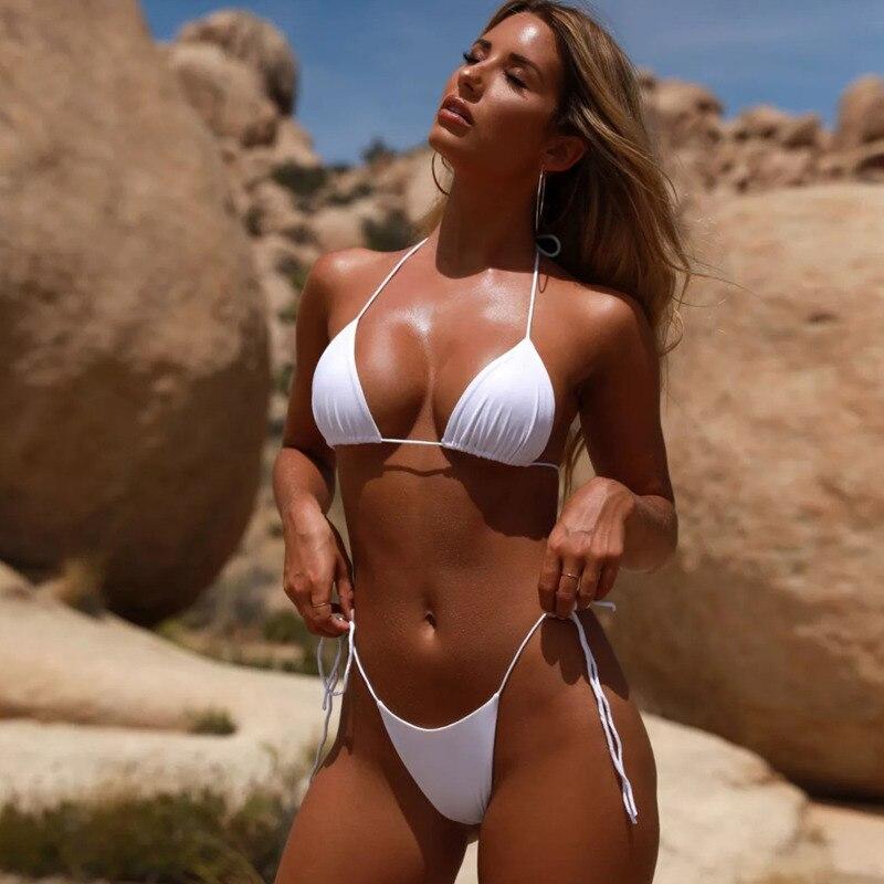 2020 Sexy Micro Mini Bikini Cover Thong Woman Bra Push Up Two Piece Swimsuit Split Can Adjustment Multi Black Pink Bottom Beach