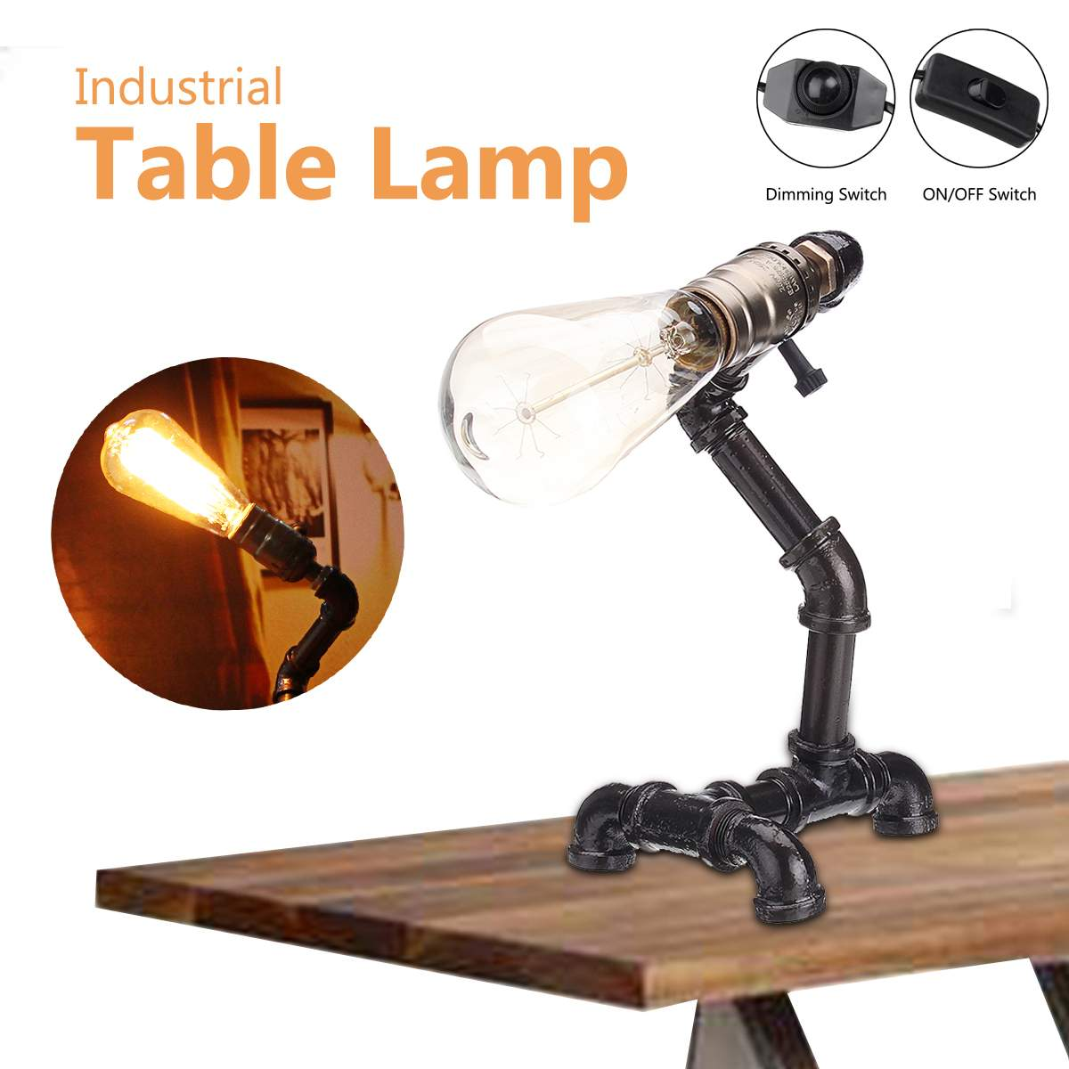 110 240V Vintage E27 Bulb Industrial Pipe Table Lamp LED Table Desk Lamp Lantern Fixture Indoor Home Bedroom Decoration Gifts|Table Lamps| |  - title=