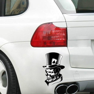 Image 3 - 1PC Funny Joker Skull Computer Stickers PET Reflective Laptop Skin Vinyl Sticker Moto Car Bumpuer Suitcase Decoration Sticker