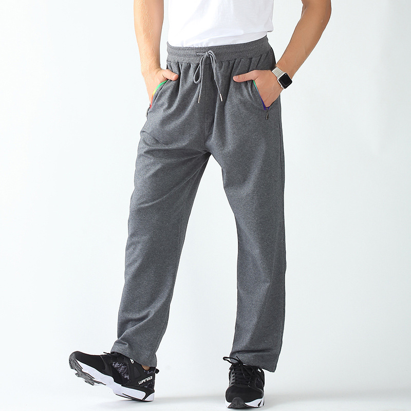 Spring Autumn Winter Plus-sized Men Cotton Casual Sports Pants Loose-Fit Zipper Straight-Leg Trousers Running Knitted Pants