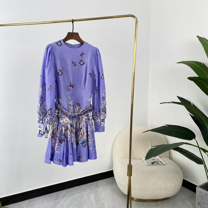 Wild Botanical Crop Butterfly Print Long Lantern Sleeve Mini Dress for Ladies Party 2021 Spring Summer Fashion Trends with belt 1