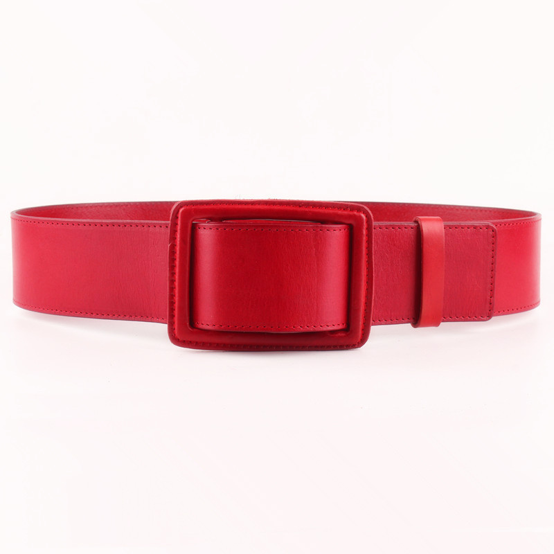 2020 Spring New Design Fashion Trendy Wide Belt For Women Casual Solid Black Leather Square Buckle Wide Waistband Female ZK275