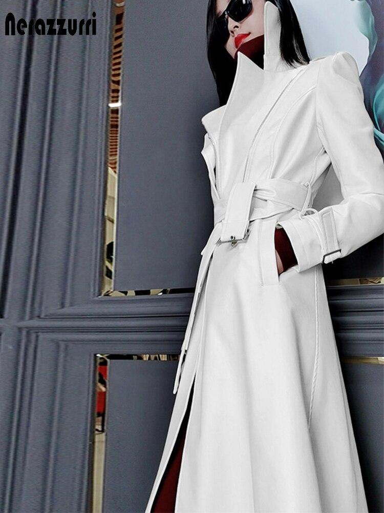 Nerazzurri Spring runway white long leather trench coat for women long sleeve Plus size fashion 5xl Womens coats 2021 designer Leather Jackets  - AliExpress