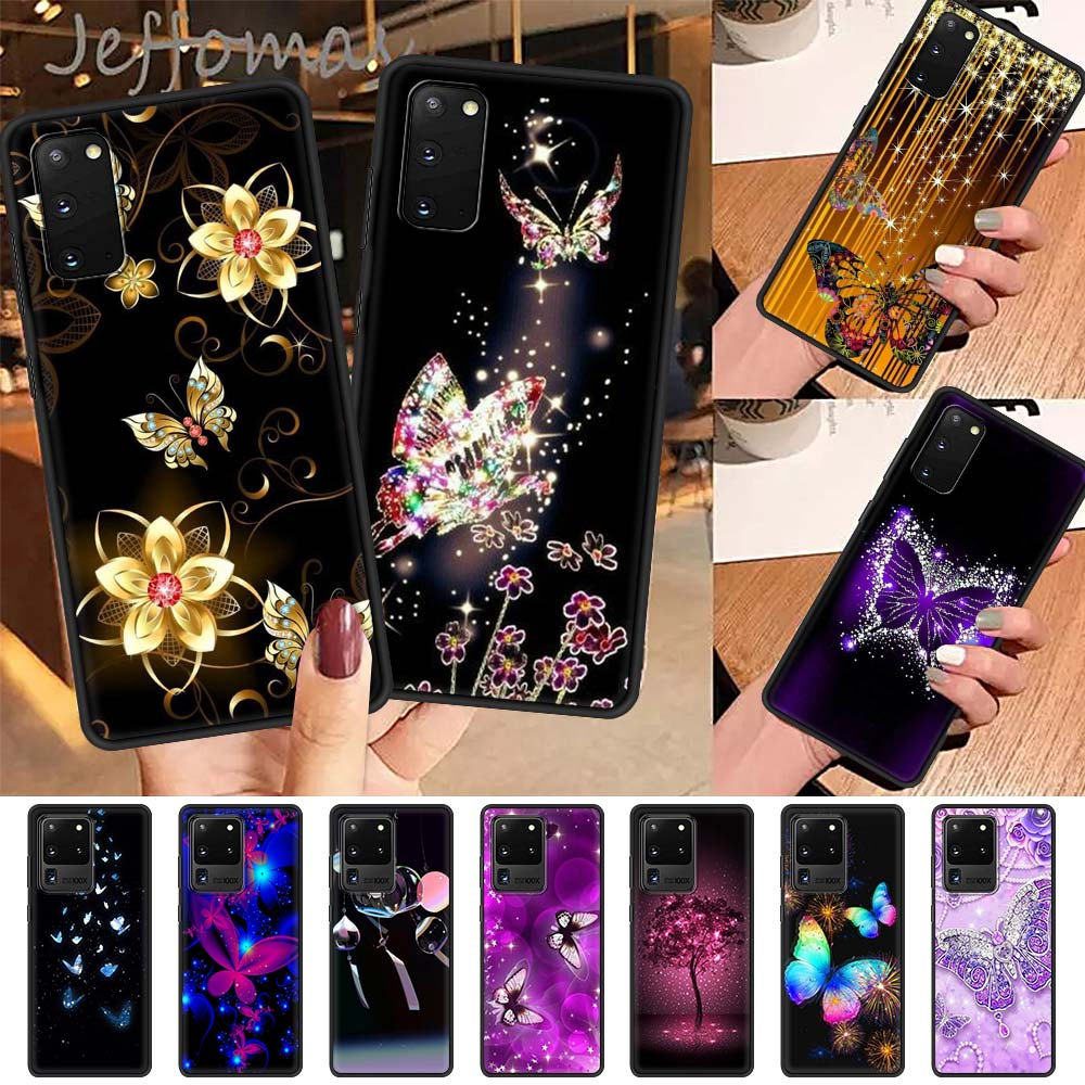 Cute Butterfly Case For Samsung Galaxy S21 S20 FE S10 S9 S8 Plus Note 20 Ultra 9 10 Lite Covers Black Shell Phone Tampa