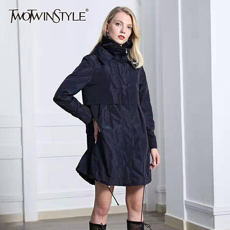 TWOTWINSTYLE Black Drawstring Women's Windbreaker Hooded Long Sleeve Trench Coats Female 2020 Autumn Oversized Fashion New