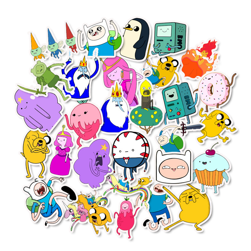 50Pcs Cartoon Adventure Time Waterproof Girl Stickers Skateboard Suitcase Guitar Graffiti DIY Sticker Children Classic Toy