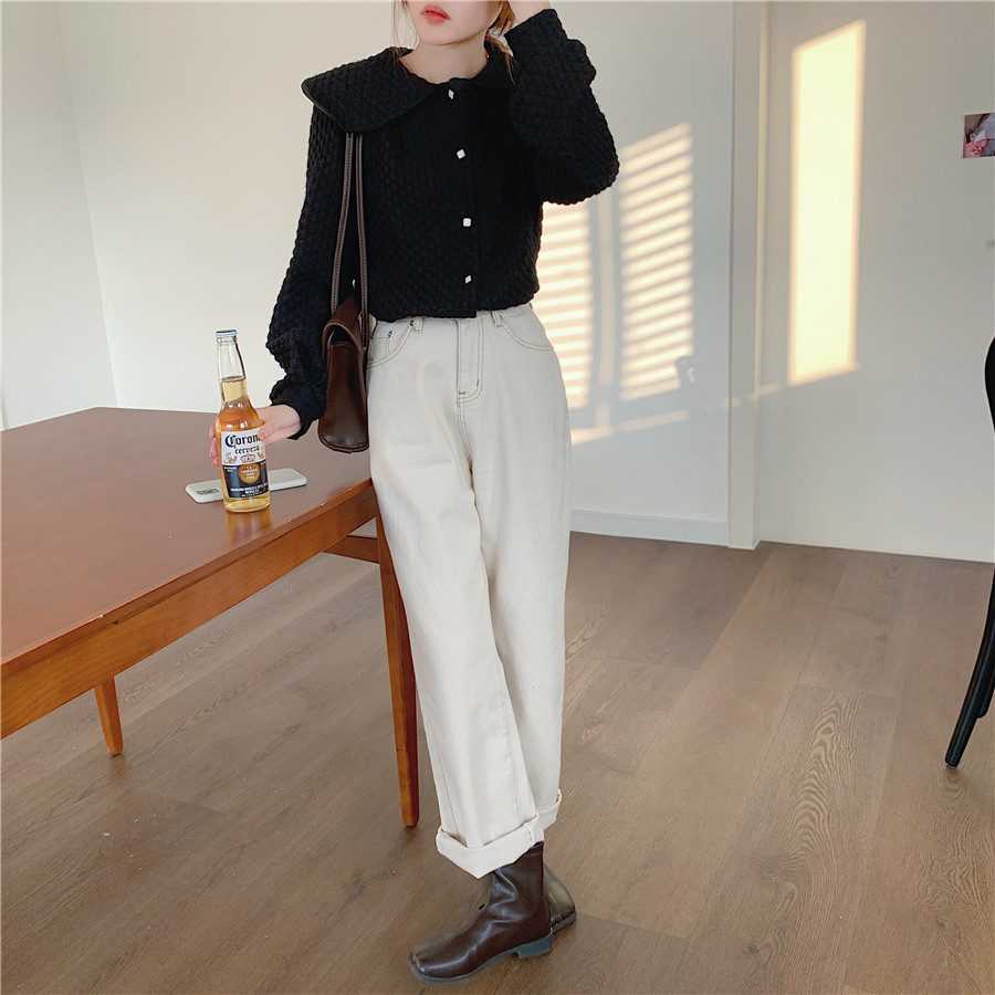 H6dcf7acbcbe34ca9adaf3ab66de839b1J - Spring / Autumn Big Lapel Long Sleeves French Lace Buttons Blouse