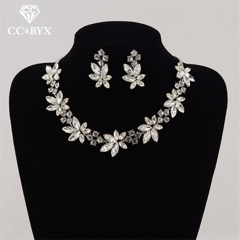 CC Jewelry Set Necklace Stud Earring Chocker Pendant Wedding Accessories For Bridal Party Beach Choker Flower Shape Bijoux TL123