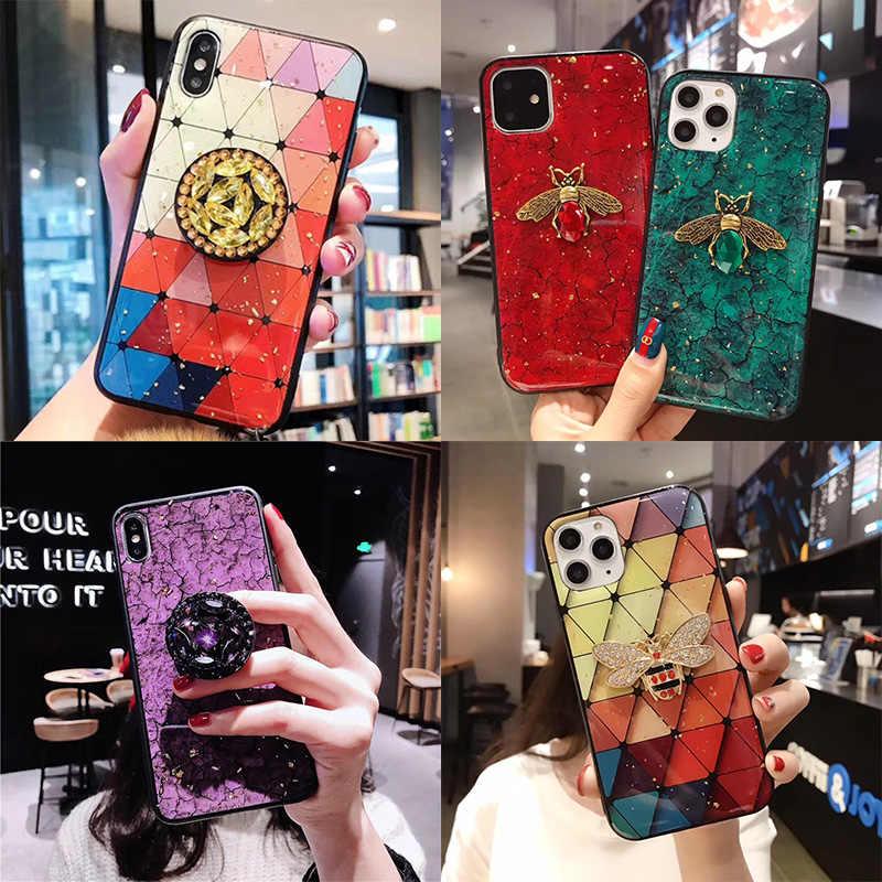 J4 J6 J8 2018 Diamond Stand Holder cases For Samsung J2 J4 J5 J7 Prime J330 J530 J70 J2PRO Glitter marble TPU DIY Bee Phone Case