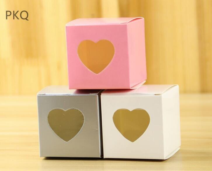100 pièces coeur forme fenêtre boîte petit cadeau boîte rose blanc Kraft bonbons Cookie chocolat boîte de rangement pour mariage noël pomme boîte