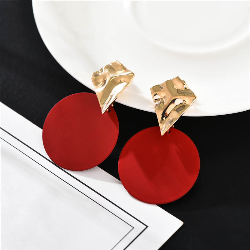 Korean Style Temperament Yellow Red Gray Round Earrings Simple Modern Women's Pendant Earrings Jewelry