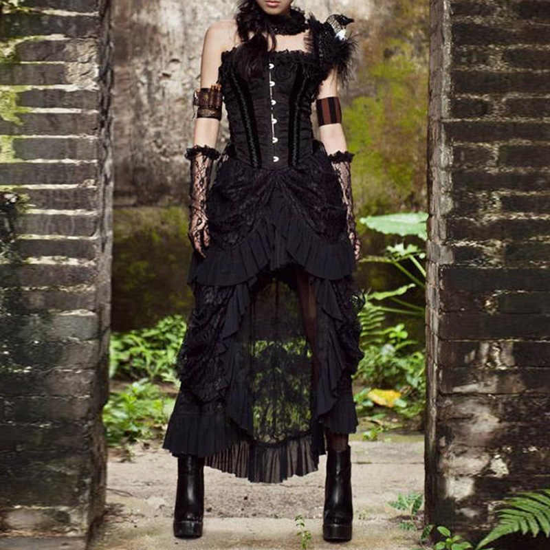 M-5XL Plus Size Gothic Retro Lace Sheer Skirt Womens Steampunk Skirts Costumes