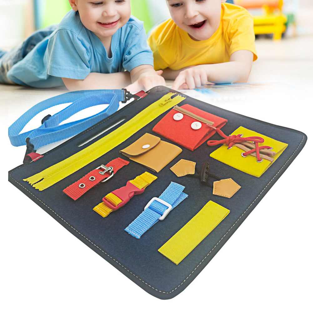Early Education Interactive Buckle Montessori Button Baby Felt Board Toy Drawing Wearing Clothes Shoes Gift Zipper Bucklethe