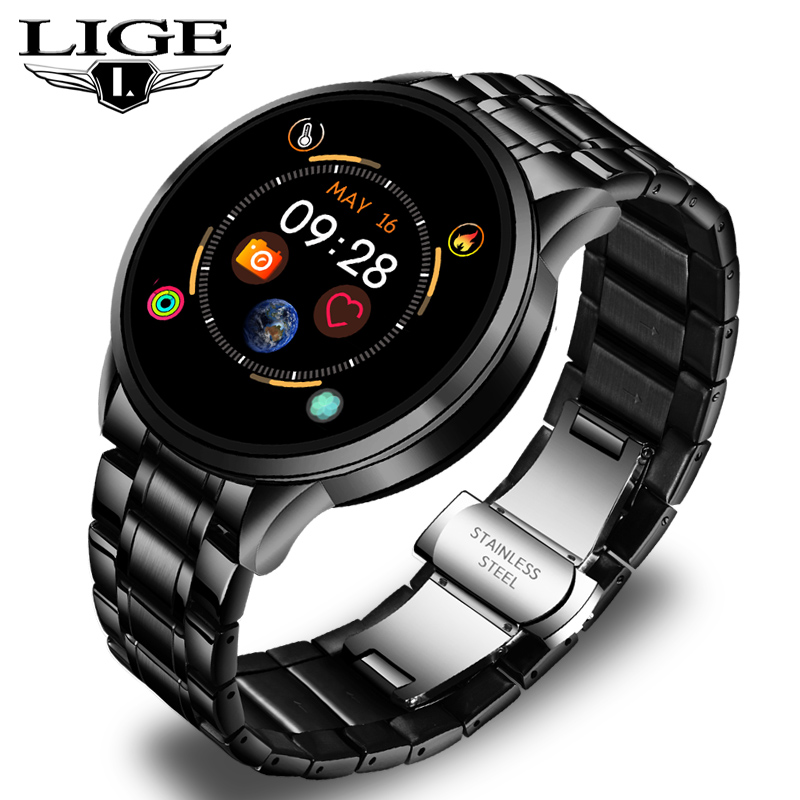 LIGE 2020 New Steel Band Smart Watch Men Heart Rate Blood Pressure Monitor Sports Pedometer Smartwatch Women Fitness Tracker+Box