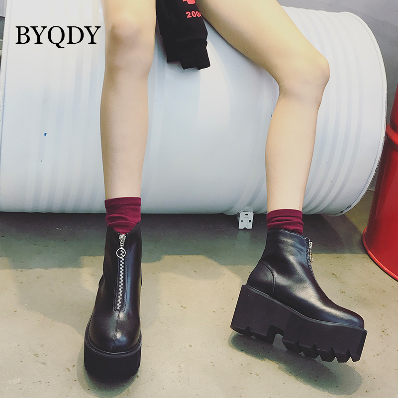 BYQDY 2020 Autumn Winter Zipper Booties Ladies Fashion High Platform Ankle Boots Women High Wide Heels Shoes Woman Warm Booties