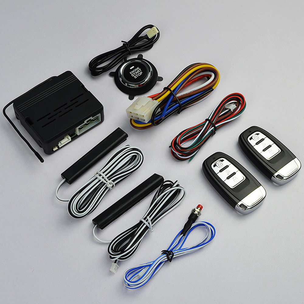 10Pcs Car Keyless Entry Engine Start Push Button Remote Starter Alarm System Kit