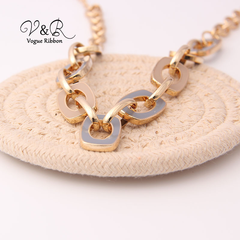 Two Tone Enamel  Penent Multiple Sized Link Chain N Necklace (9)