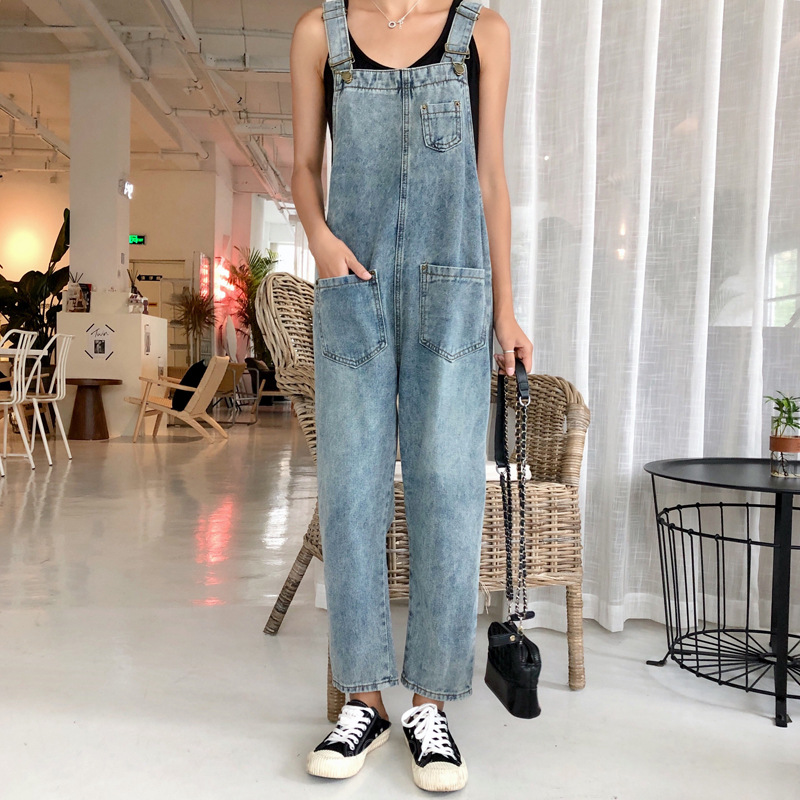 Women Oversized Denim Jumpsuit Autumn Jeans Overalls Plus Size Bib Solid Pockets Rompers Vintage Dungarees Blue Basic Jean Pants