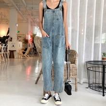 Women Oversized Denim Jumpsuit Autumn Jeans Overalls Plus Size Bib Solid Pockets Rompers Vintage Dungarees Blue Basic Jean Pants