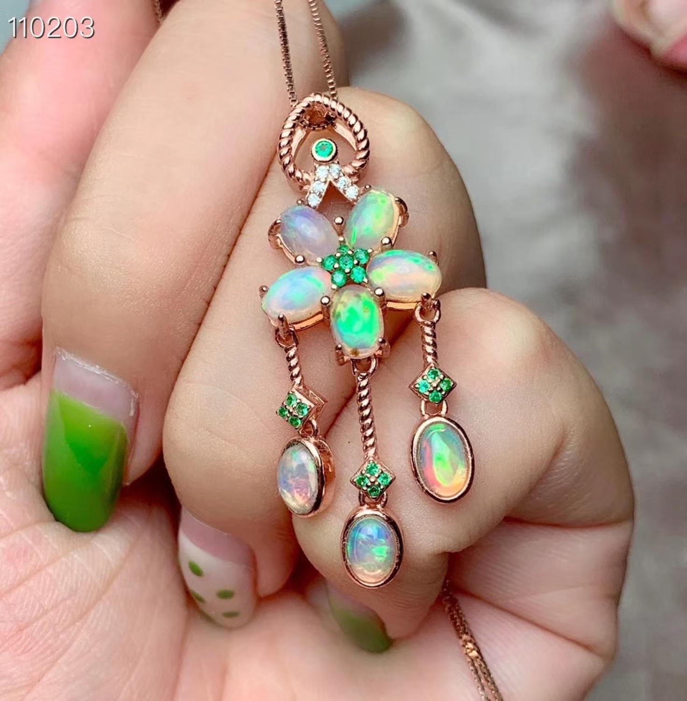Mode fleur glands naturel multicolore opale gemme pendentif collier S925 argent naturel pierres précieuses collier femmes fille bijoux