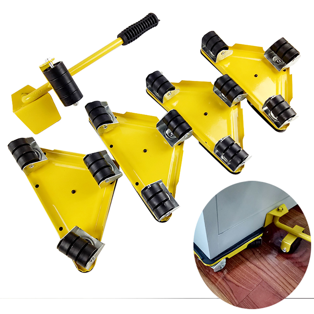 5Pcs Furniture Transport Lifter Tool Set Heavy Stuffs Moving Hand Tools Set Wheel Bar Mover Device Furniture Mobile Device