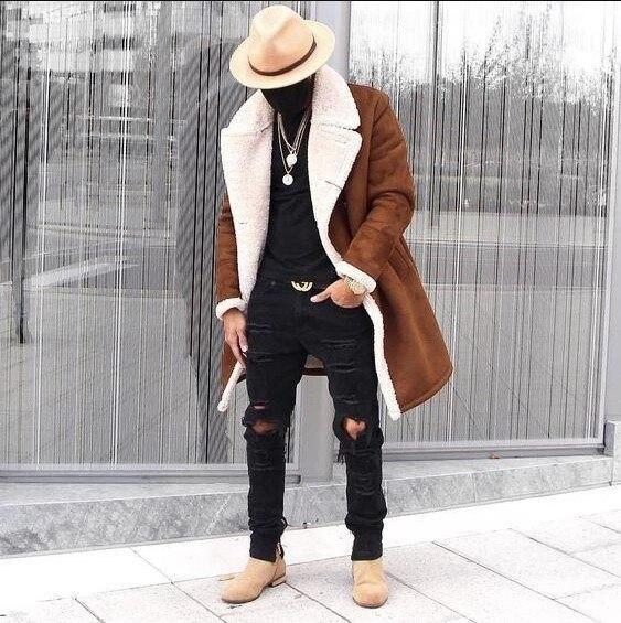 2019 Men Winter Coats Fleece Composite Suede Men's Warm Jacket Coats Hombre Male Casual Fashion Winter Thick Jackets