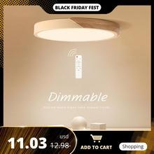 Ledシーリングライト現代の北欧ラウンドランプ木製ホーム寝室の研究表面実装照明器具リモコン