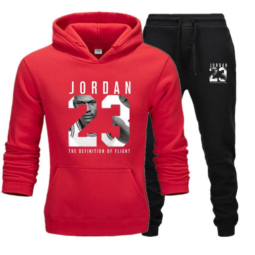 2019 Brand Tracksuit Fashion JORDAN 23 Print Men Sportswear Pullover Two Sets Leisure Fleece hoodies +Pants Sporting Suit Male  (10)