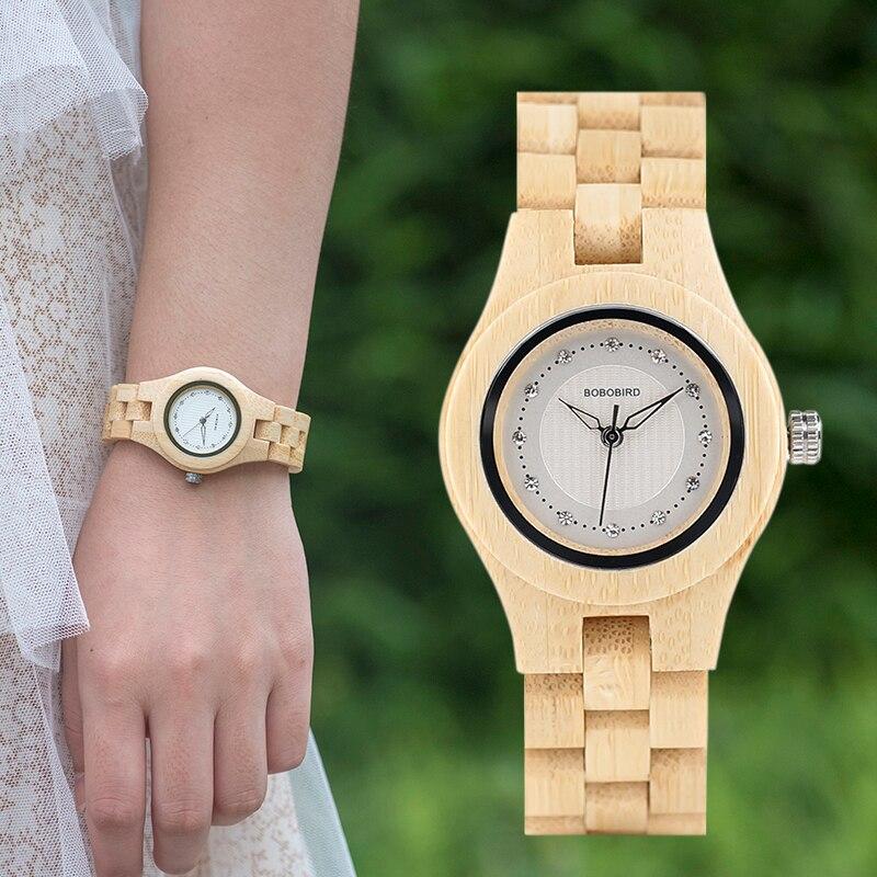 Bobo pássaro V-O10 senhoras relógios de luxo bambu de madeira moda único feminino relógio de quartzo relogio feminino com diamante