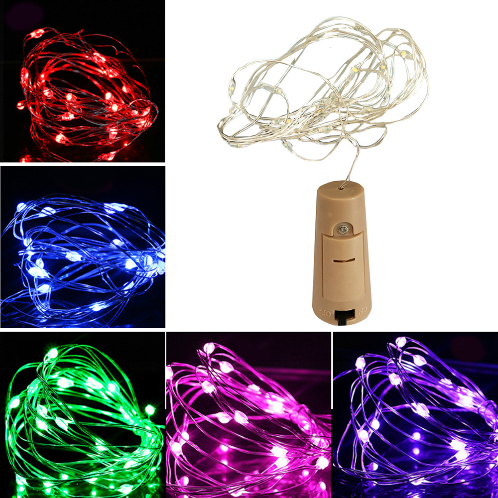 1M 2M Wine Bottle LED Lights Strips Copper Wire Fairy Garland String Light With Battery For Outdoor Wedding Christmas Tree Light