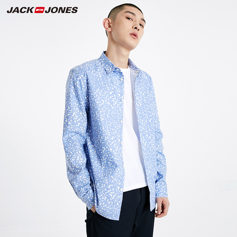 Jack Jones  Mens 100% Cotton Printed Long-sleeved Shirt |219105550