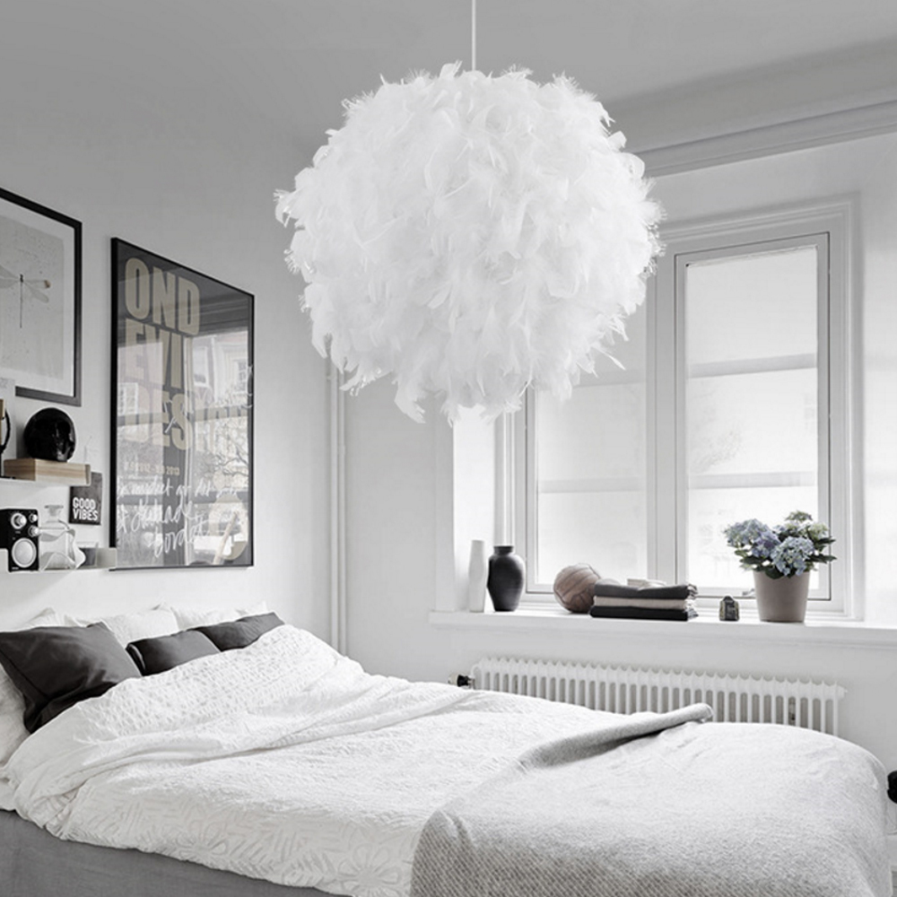 Nordic Style Feather Ceiling Pandant Light Shade Morden Bedroom Living Room Lampshade Indoor Restaurant Hotel Decoration Lamp