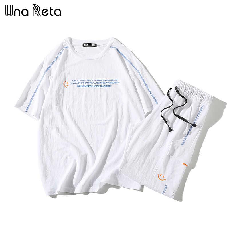 Una Reta Uomini di Estate di sport del vestito 2020 di Nuovo Modo di Protezione Solare casuale manica corta T-Shirt pantaloncini Hip Hop stampa a due pezzo insieme del Vestito