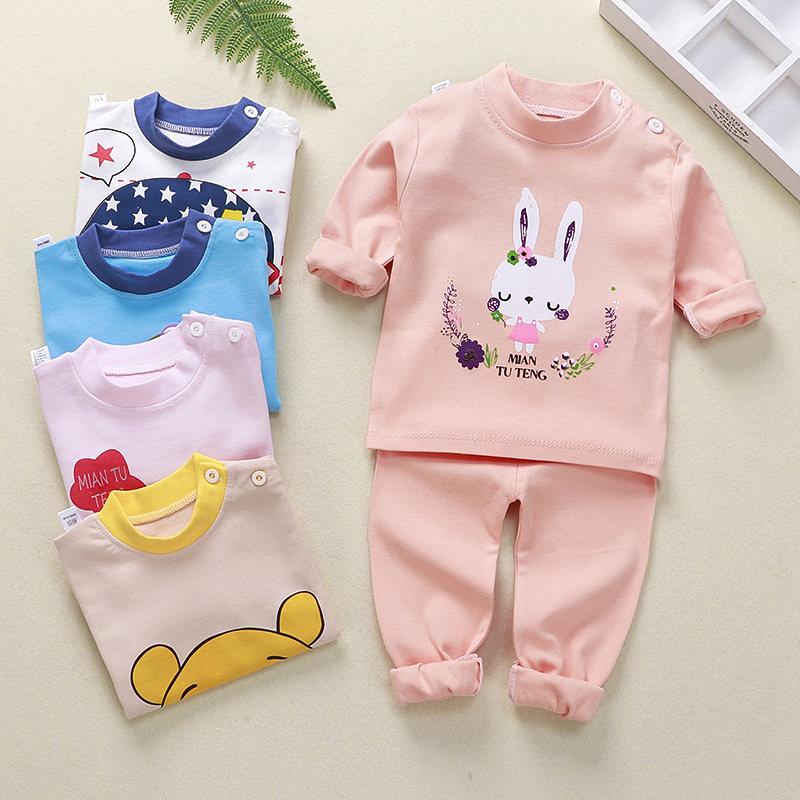 Kids Pajamas Sets Cotton Boys Sleepwear Suit 2pcs Spring Autumn Girls Pajamas Long Sleeve Pijamas Tops+Pants Children Clothing 3