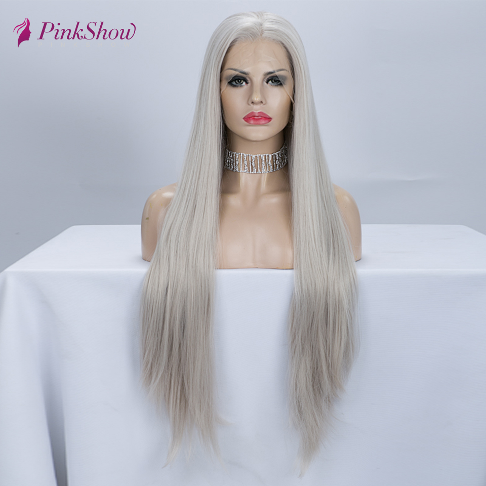 Pinkshow Grey Wig Long Straight Hair Synthetic Lace Front Wig Glueless Heat Resistant Fiber Wigs For Women