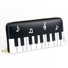 Women Wallets Piano Music Notes Lady Clutch Zipper Purses Money Bag Cards Holder