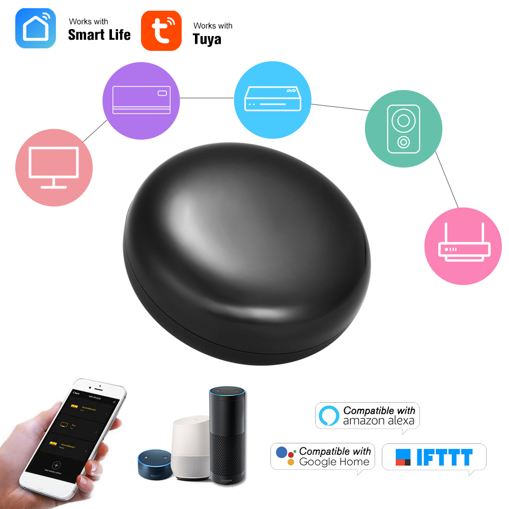 WiFi IR Remote Control Hub Wi Fi Enabled Infrared Universal Remote Controller For Air Conditioner TV WiFi-IR Remote Control Hub Wi-Fi Enabled Infrared Universal Remote Controller For Air Conditioner TV Using Tuya Smart Life APP