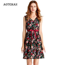Summer Autumn Dress Women 2019 Casual Sexy V Neck Print Floral Boho Beach Dress Female Vintage Elegant Slim Mini Party Dresses(China)