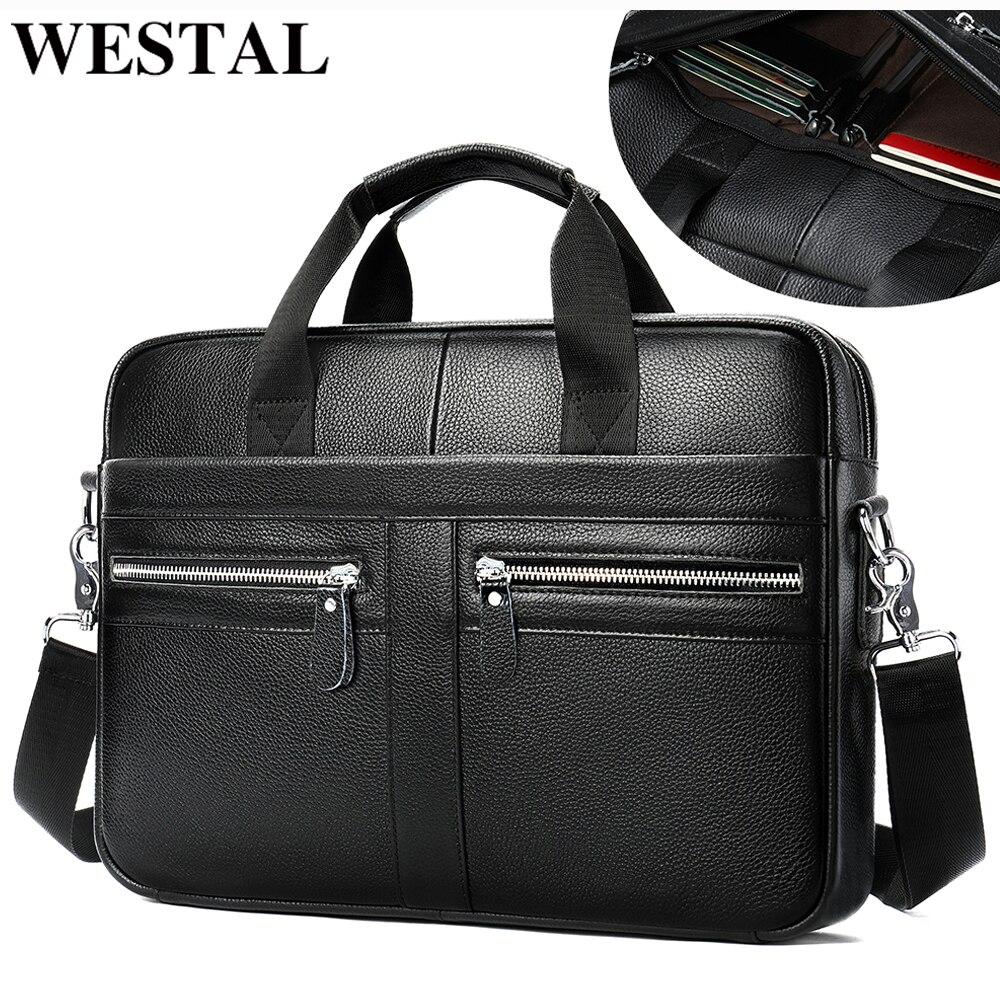 WESTAL Men's Briefcase Handbag Designer Bag Men's Genuine Leather Laptop Bag Men Office Bag For Men Business Porte Document 2099