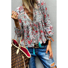 2019 Autumn & Winter Women Chiffon Shirt Female Clothes Office Lady Streetwear Blouse Blue Red Shirt(China)