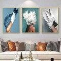 Перо для современного танца для девочек, черно-белый Ангел Красота абстрактные Картины Гостиная светильник класса люкс декоративная живоп...